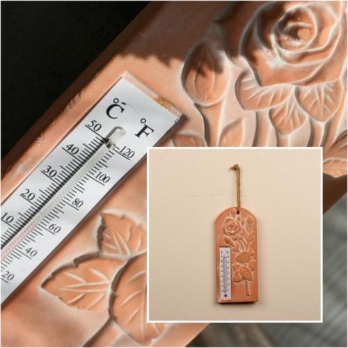 Keramický teplomer ruže 22,5x9,5cm