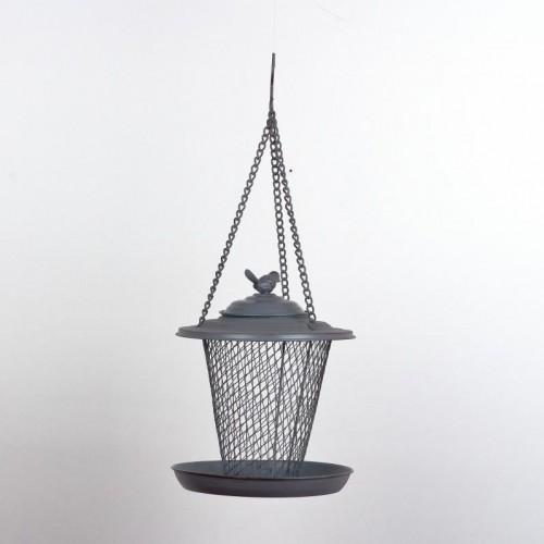 Kŕmidlo pre vtákov závesné sivý kov 22cm