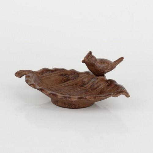 Liatinové pítko list s vtáčikom 18cm