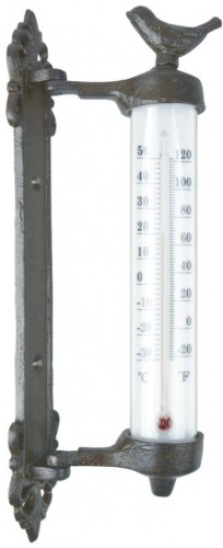 Teplomer nástenný s vtáčikom liatina (darčekové balenie) 30x10cm