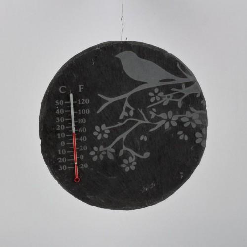 Teplomer z bridlice s vtáčikom guľatý 22cm