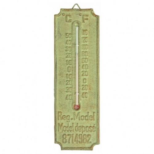 Vonkajší teplomer so zelenou patinou 20x6cm