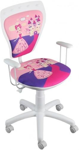 NOWY STYL Ministyle detská stolička na kolieskach s podrúčkami biela / vzor princess