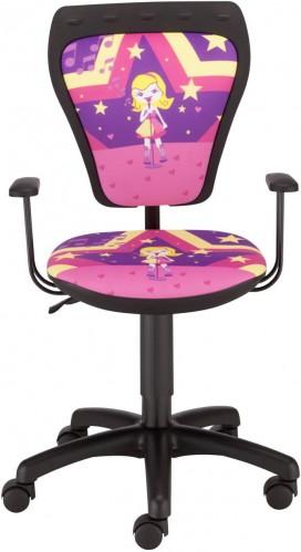 NOWY STYL Ministyle detská stolička na kolieskach s podrúčkami čierna / vzor superstar