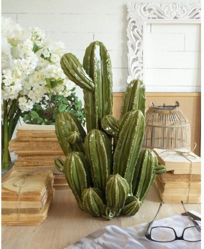 Zelená keramická dekorácia Orchidea Milano Cactus, výška 48 cm