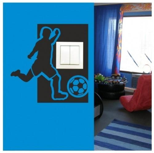 Samolepiaca textilná ochrana na vypínač - futbalista ružová