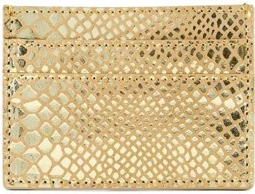 Pieces Dámska peňaženka PCNAINA LEATHER SNAKE CARDHOLDER Gold Colour snake
