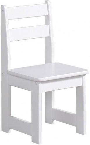 Biela detská stolička zmasívneho borovicového dreva Pinio Baby
