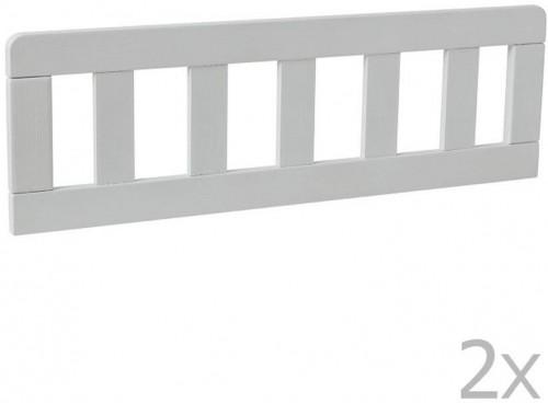 Sada 2 bielych drevených zábran k detskej postieľke Pinio Classic, 160 × 70 cm