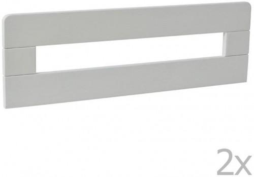 Sada 2 bielych drevených zábran k detskej postieľke Pinio Simple, 160 × 70 cm