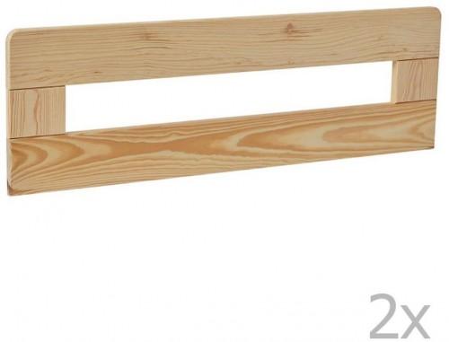 Sada 2 hnedých drevených zábran k detskej postieľke Pinio Simple, 160 × 70 cm