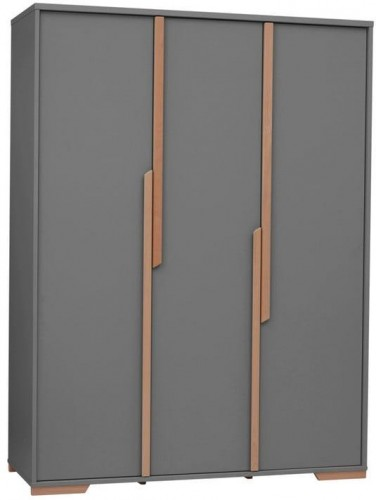 Tmavosivá detská šatníková skriňa Pinio Snap, 145,5 × 195 cm