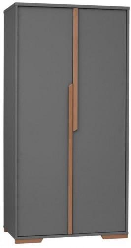 Tmavosivá detská šatníková skriňa Pinio Snap, 98,5 × 195 cm