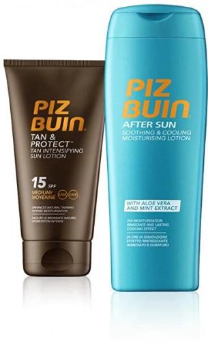 Piz Buin Sada slnečné starostlivosť Opaľovacie mlieko urýchľujúci proces opálenie SPF 15 Tan & Protect 150 ml + Mlieko po opaľovaní After Sun 200 ml