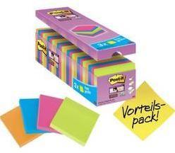 Samolepiaci blok Post-it 654SE24P, (š x v) 76 mm x 76 mm, neónovo oranžová, neónovo zelená, ultra ružová, ultra modrá, 2160 listov