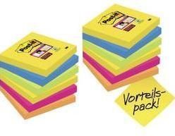 Samolepiaci blok Post-it 654SR9+3, (š x v) 76 mm x 76 mm, ultra žltá, ultra modrá, ultra ružová, neónovo zelená, neónovo oranžová, 1080 listov