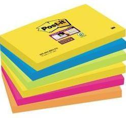 Samolepiaci blok Post-it 6556SR, (š x v) 127 mm x 76 mm, neónovo zelená, neónovo oranžová, ultra modrá, ultra žltá, ultra ružová, 540 listov
