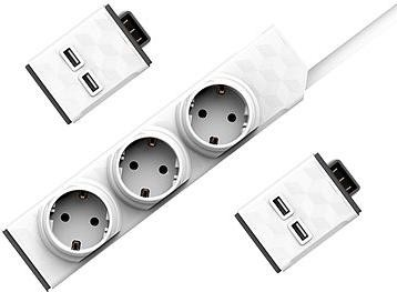 Allocacoc Set PowerStrip Modular Switch 1,5m + 2x USB modul