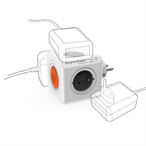 PowerCube Napäťová rozbočka - 230V - 4 zásuvky vypínač a diaľkový ovládač - šedý KS015VM4S1