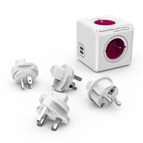 PowerCube Napäťová rozbočka - cestovný adaptér 110-240V - 4 zásuvky + 2x USB KS004UC401