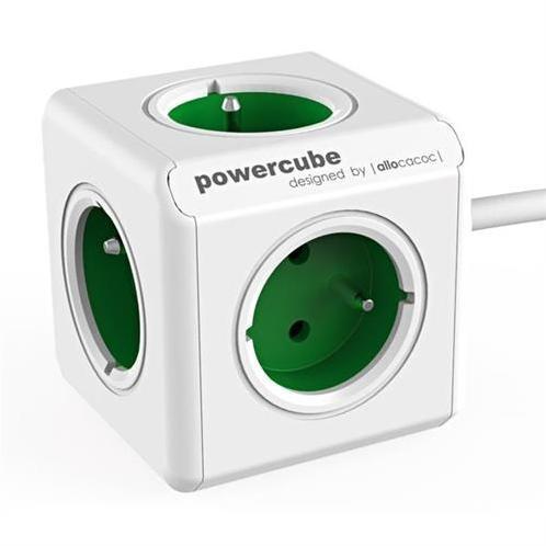 PowerCube Napäťový predlžovací kábel 230V - 5 zásuviek 1,5m - zelený KS015PD501