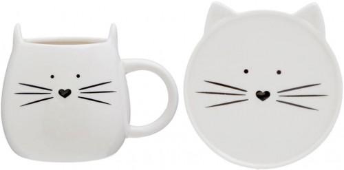 Mačacia šálka s tanierikom Premier Housowares Cat, 380 ml