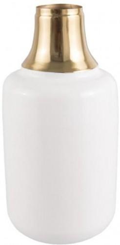 Biela váza s detailom v zlatej farbe PT LIVING Shine, výška 28 cm