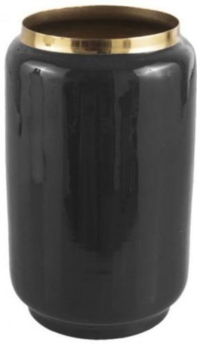 Čierna váza s detailom v zlatej farbe PT LIVING Flare, výška 22 cm