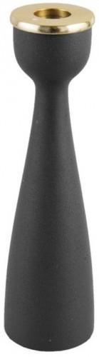 Čierny svietnik s detailom v zlatej farbe PT LIVING Nimble, výška 22,5 cm
