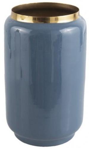 Modrá váza s detailom v zlatej farbe PT LIVING Flare, výška 22 cm