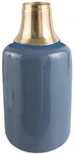 Modrá váza s detailom v zlatej farbe PT LIVING Shine, výška 33 cm