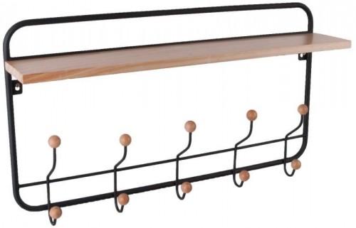Nástenný vešiak s policou z dreva a kovu PT LIVING, 56×36 cm