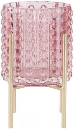 Ružový svietnik PT LIVING Drops, výška 15 cm