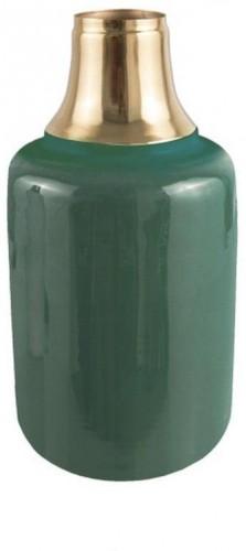 Zelená váza s detailom v zlatej farbe PT LIVING Shine, výška 28 cm