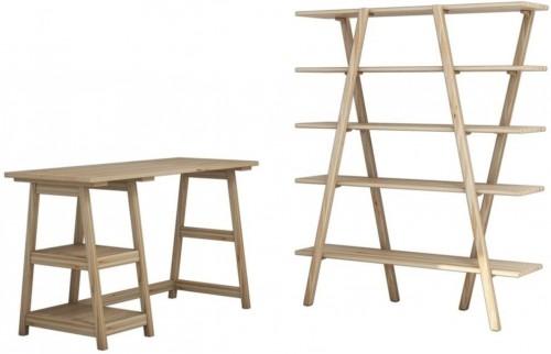 Pracovný stôl s policou z borovicového dreva Perla