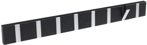 Čierny dubový vešiak s 8 výklopnými háčikmi Rowico Odin
