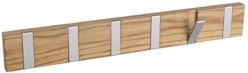 Prírodný dubový vešiak so 6 výklopnými háčikmi Rowico Confetti