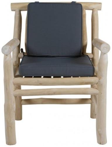 Kreslo z teakového dreva so sivým vankúšom na sedenie Santiago Pons Capri