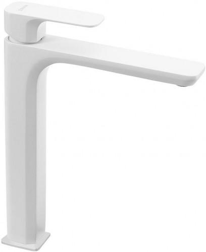 SAPHO - SPY stojánkova umývadlová batéria vysoká bez výpuste, predĺžená hubica, biela ma (PY07/14)