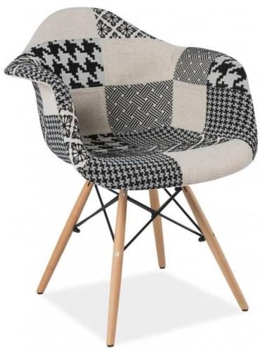 Čierno-biela jedálenská stolička s drevenými nohami Signal Denis Patchwork
