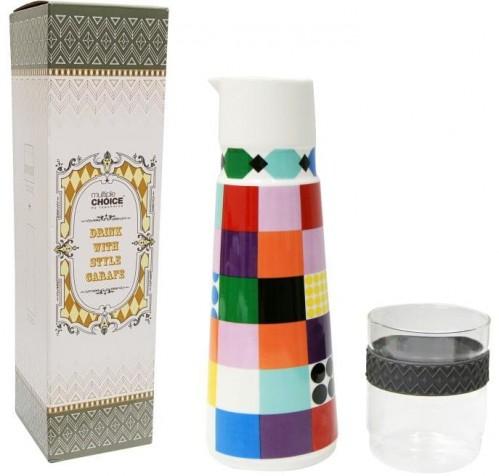 Sada karafy z kostného porcelánu a pohára Silly Design Colorful