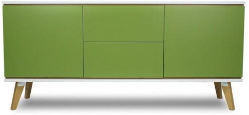 Dvojdverová komoda v dekore dreva s 2zásuvkami a so zelenými detailmi SKANDICA Jorgen