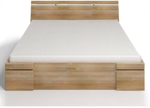 Dvojlôžková posteľ z bukového dreva sozásuvkou Skandica Sparta Maxi, 200×200cm