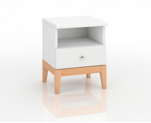 Nočný stolík z masívneho borovicového dreva SKANDICA Livia 1S Plus