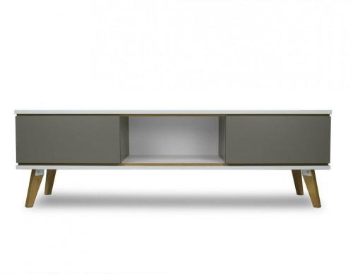 TV komoda v dekore dreva so sivými detailmi SKANDICA Jorgen
