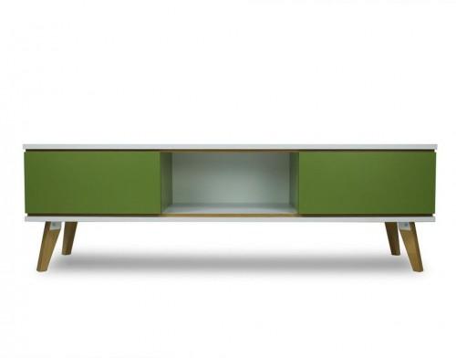 TV komoda v dekore dreva so zelenými detailmi SKANDICA Jorgen
