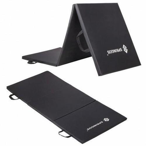 SPRINGOS Fitness gymnastická podložka skladaná 180cm - čierna