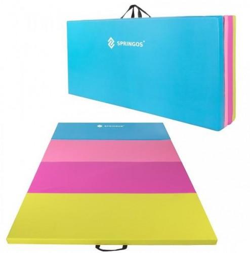 SPRINGOS Fitness gymnastická podložka skladaná 240cm - farebná