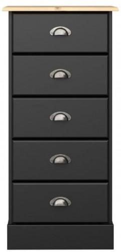 Čierna komoda s 5 zásuvkami Steens Nola, výška 91 cm