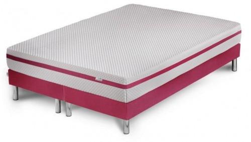 Ružová posteľ s matracom a dvojitým boxspringom Stella Cadente Maison Pluton, 140 × 200 cm